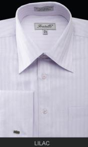 Fratello French Cuff Lilac Dress Shirt - Herringbone Tweed Stripe Big and Tall Sizes