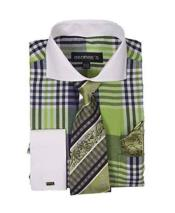 Mens Plaid Window Pane Pattern Long Sleeve White Collar Two Toned