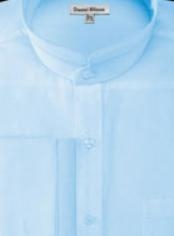 Mens French Cuff Banded collarless Shirt