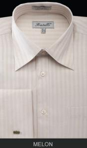 Mens French Cuff Best Cheap Priced Designer Sale Herringbone Tweed Dress Shirt ~ Stripe Melon