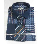 Pane Pattern Navy Blue French Cuff With Collar Mens Dress Shirt