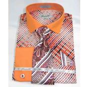 Geometric Multi Pattern Orange Cotton French Cuff With Collar Mens Dress Shirt