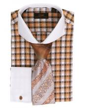 Orange Pattern 100% Cotton Mens Dress Shirt