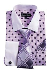 Mens White Collared French Cuff Polka Dot Dress Shirt with Tie Handkerchief Cufflinks Purple