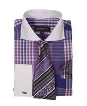 Purple Window Pane Pattern French Cuffed