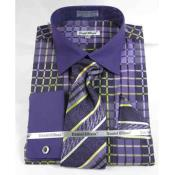 Purple French Cuff With Collar Window Pane Pattern Dress Shirt