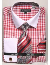 Mens Red and white Classic Fit