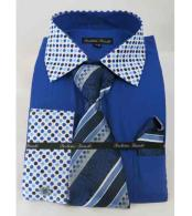 Royal Blue Solid Body With Poka-a-dot Collar French Cuff Dress Shirt