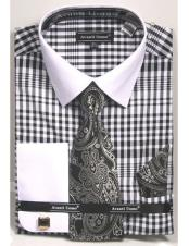 white Collared French Cuffed black Dress Shirt with Tie/Hanky/Cufflink Set