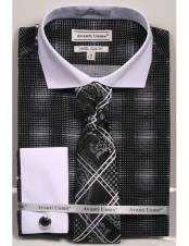 Black woven design white Collared French Cuffed Slim Fit Dress Shirt