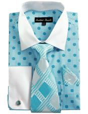 Collared French Cuffed Blue & Tie Set Mens Dress Shirt