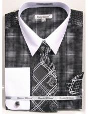white Collared French Cuffed Black woven design Shirt with Tie/Hanky/Cufflink Set Mens