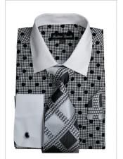 Black Polka Dot Pattern White Collared French Cuff Style Mens Dress Shirt