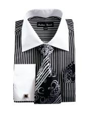 White Collared French Cuffed Dress Black Shirt & Tie Set