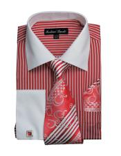 White Collared French Cuffed Dress Red Shirt & Tie Set