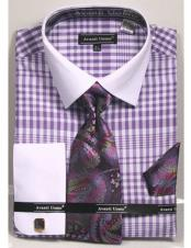 Collared French Cuffed Lavender Shirt with Tie/Hanky/Cufflink Set Mens Dress Shirt