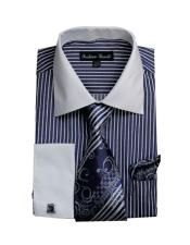 White Collared French Cuffed Navy Dress Shirt & Tie Set