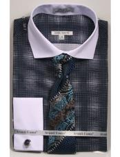 woven design white Collared French Cuffed navy Slim Fit Dress Shirt