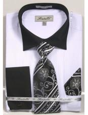 Black Collared French Cuffed white Dress Shirt with Tie/Hanky/Cufflink Set