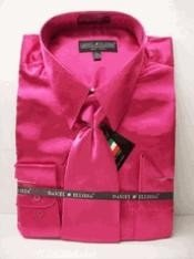 Cheap Priced Sale Mens New Fuchsia ~ fuschia ~ hot Pink Satin Dress Shirt Combinations Set Tie