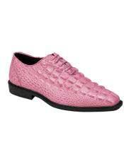 Mens Plain Toe Pink Fuchsia Lace Up Oxford Gator Pattern Dress Shoes