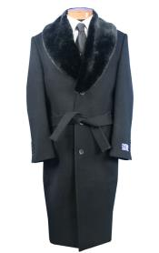 Dress Coat Full Length Fur Collar Wool Overcoat ~ Topcoat Black no belt included
