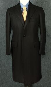 Full-Length Black Cashmere and Wool Blend Over Coat