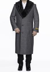 Dress Coat Removable Fur Collar Full Length Wool Dress Top Coat