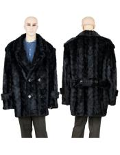 Fur Black Mink Pea Coat With Mink Paws Collar Jacket
