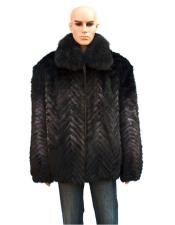 Fur Blue Mink Fox Collar Pull Up Zipper Jacket