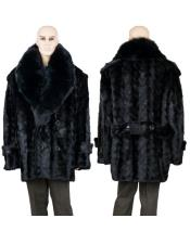 Fur Black Mink Pea Coat With Full Skin Fox Collar Jacket