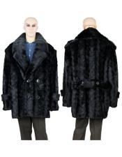 Fur Pea Coat Black Full Skin Mink Collar Jacket