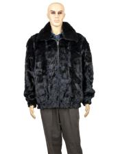 Fur Black Full Skin Mink Collar Pull Up Zipper Jacket