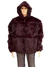 Mens Maroon Full Skin Fox Collar Genuine Rabbit Jacket
