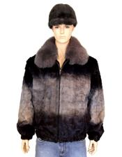 Handmade Fur Grey Diamond Mink Fox Collar Jacket