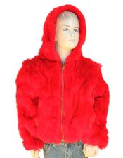 Fur Handmade Red Rabbit Pull Up Zipper Jacket