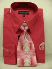 Fuschia Combinations Set Tie Mens Dress Shirt