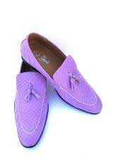 Mens Slip-On Style Gator Lilac ~ Light Purple Fashionable Loafers