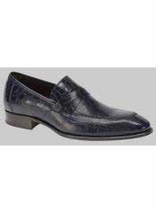 Brand Sierpes Style Genuine Crocodile Blue Loafer Shoes