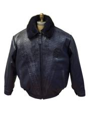 Mens Black Leather Jacket with World Best Alligator ~ Gator Skin