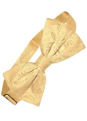 Mens Polyester Gold Paisley Pattern Tuxedo Bowtie