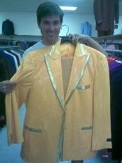 Mens Yellow-Gold Shiny Flashy Metallic Tuxedo Suit Peak Lapel