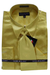 Cheap Priced Sale Mens New Gold Satin Dress Shirt Combinations SetTie Combo Shirts