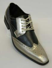 Two Tone Gold Exotic Print Tie Up Style Classic Spectator Wingtip