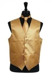 Rib Pattern Dress Tuxedo Wedding Vest Tie Set Gold