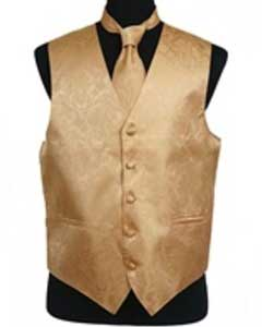 Gold tone on tone Dress Tuxedo Wedding Vest
