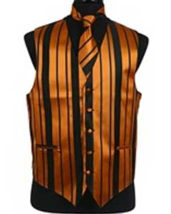 Tuxedo Wedding Vest/Tie/Bowtie Sets (Black-Gold Combination) Buy 10 of same color Tie For $25 Each