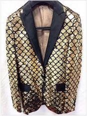 Gold Shiny Flashy Fashion Sequin Blazer ~ Sport coat Dinner Jacket