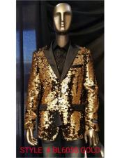 Fashion Gold Shiny Sequin Paisley Blazer Sport coat Tuxedo Jacket