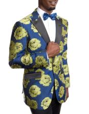 Men's Blue and Gold Slim Fit Tuxedo